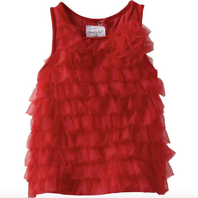 Red Chiffon Ruffle Tunic Dress, MP-Mud Pie, Putti Fine Furnishings