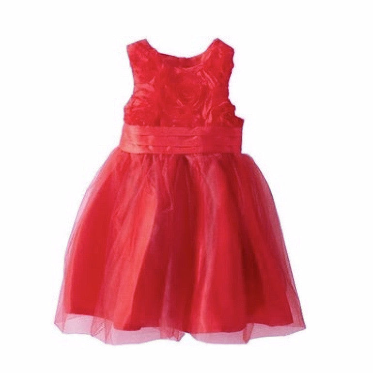 Mud Pie Red Rosette Dress with Ruffles, MP-Mud Pie, Putti Fine Furnishings