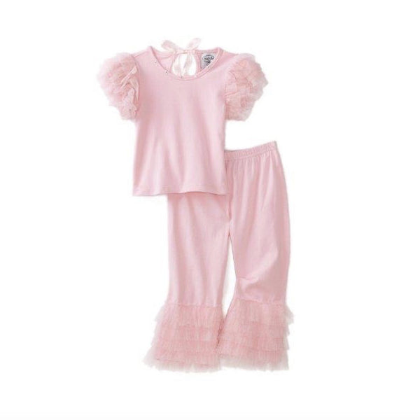 Mud Pie Pink Tulle Ruffle Top and Pant Set-Children's Clothing-MP-Mud Pie-Putti Fine Furnishings