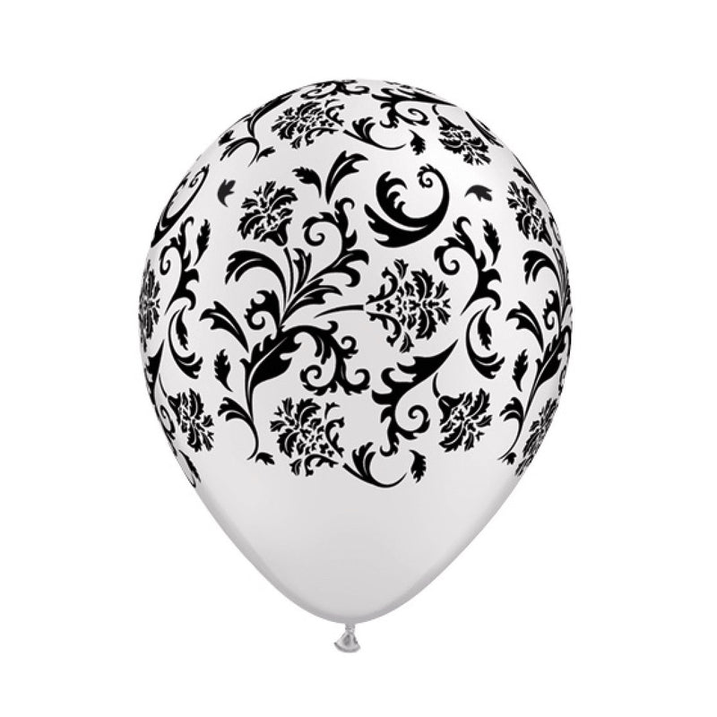 Damask Opaque Balloons - White & Black