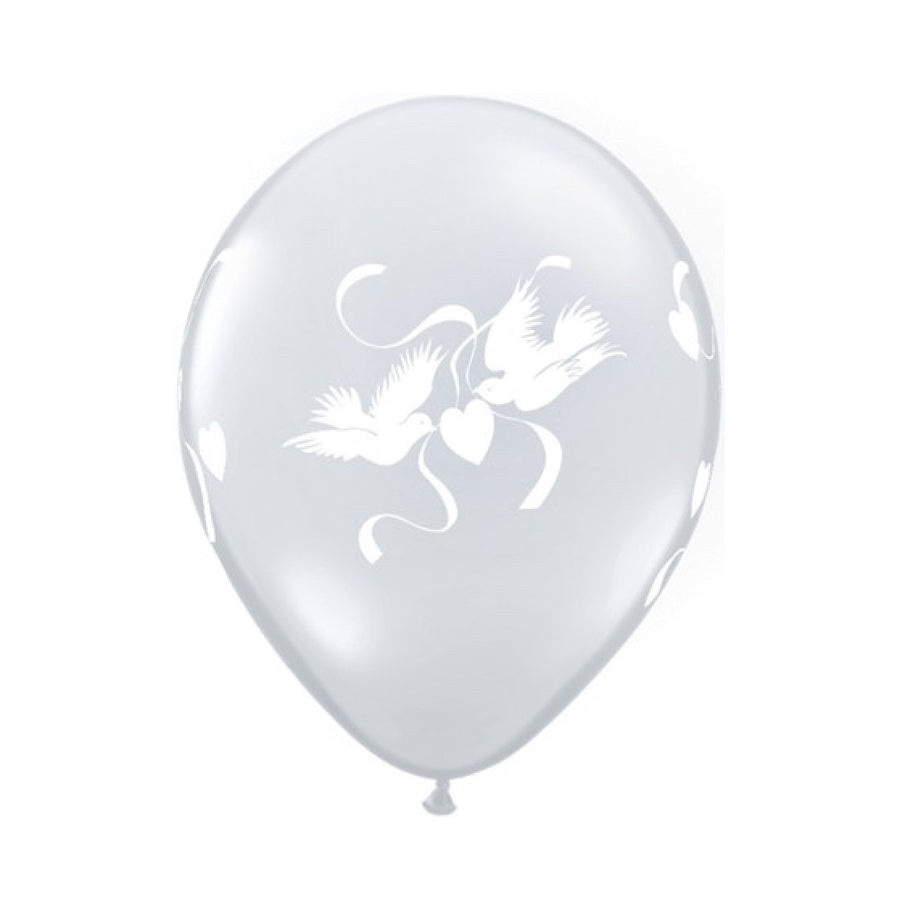 Love Doves Diamond Clear Transparent Balloons