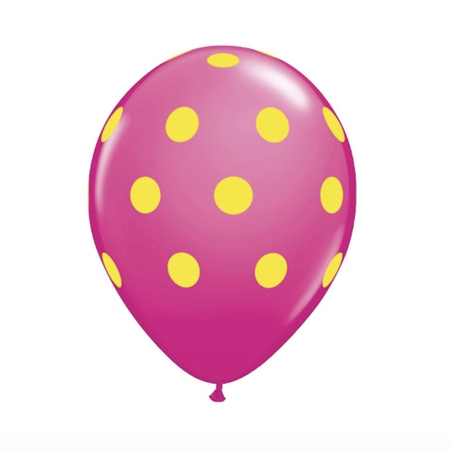 Big Polka Dots Colorful Balloons - Hot Pink & Yellow