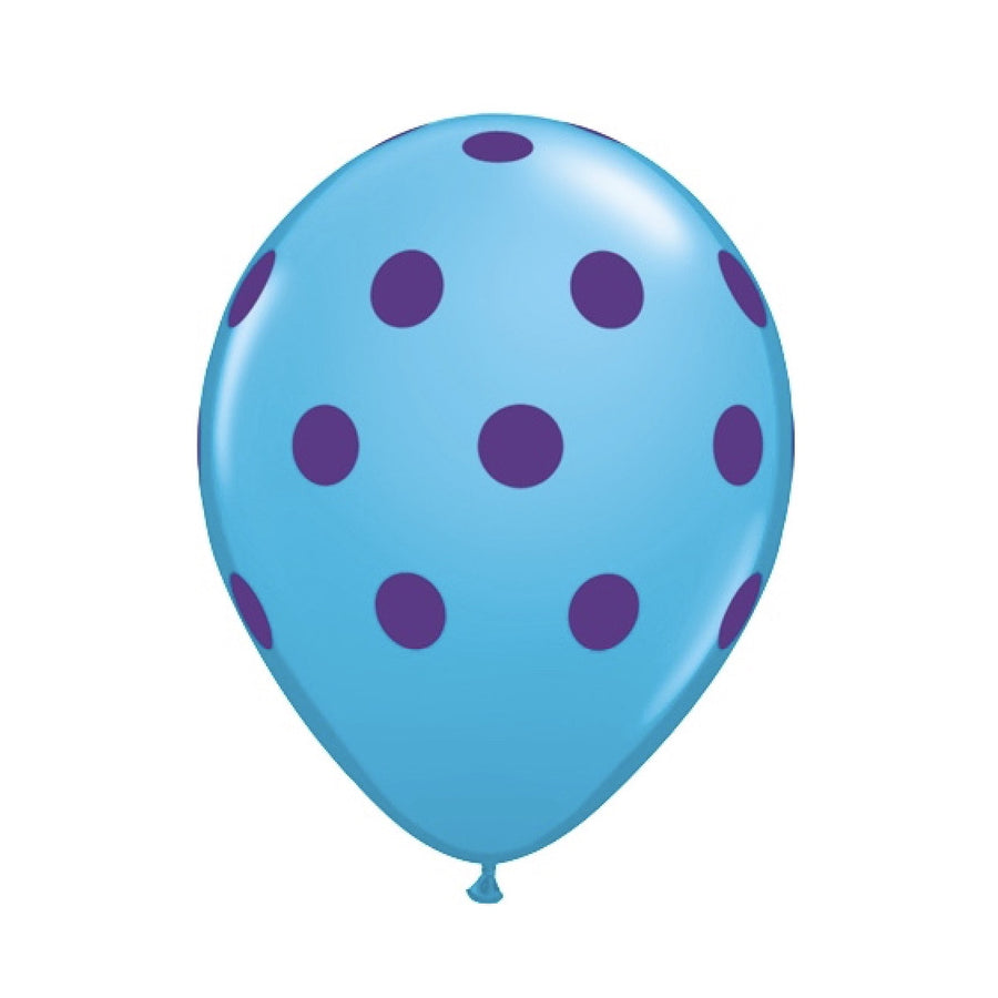 Big Polka Dots Colorful Balloons - Blue & Purple