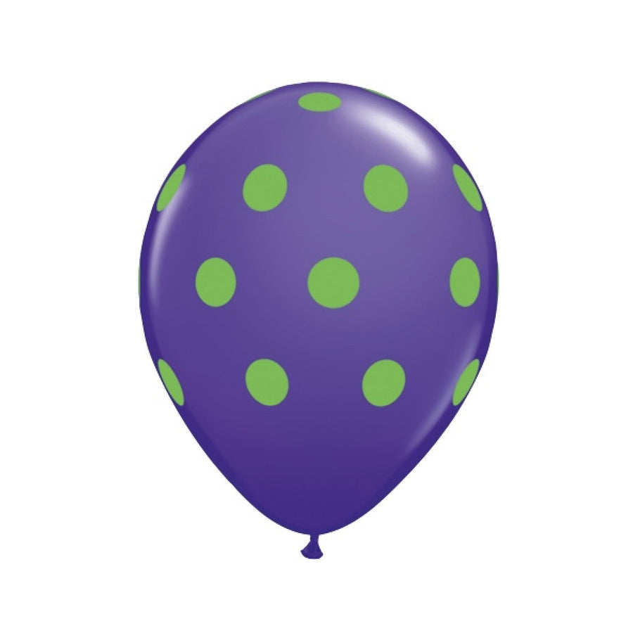 Big Polka Dots Colorful Balloons - Purple & Green