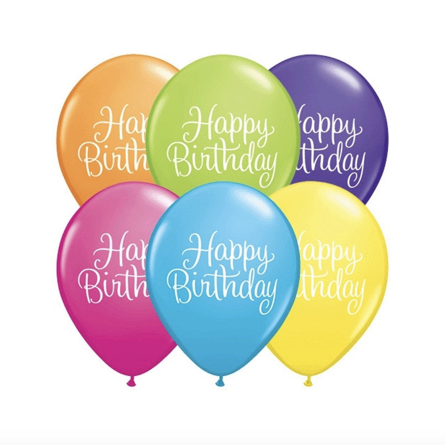 """Happy Birthday"" Classic Script Opaque Balloons - Assorted"