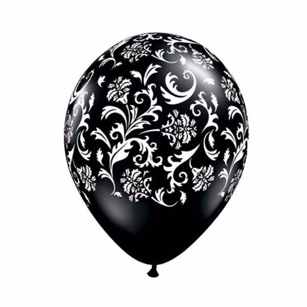 Damask Opaque Balloons - Black & White