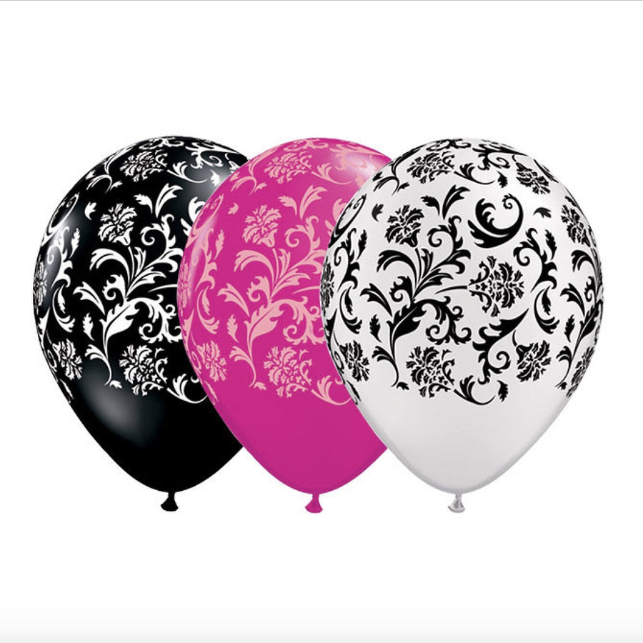 Damask Opaque Balloons - Hot Pink & Pink