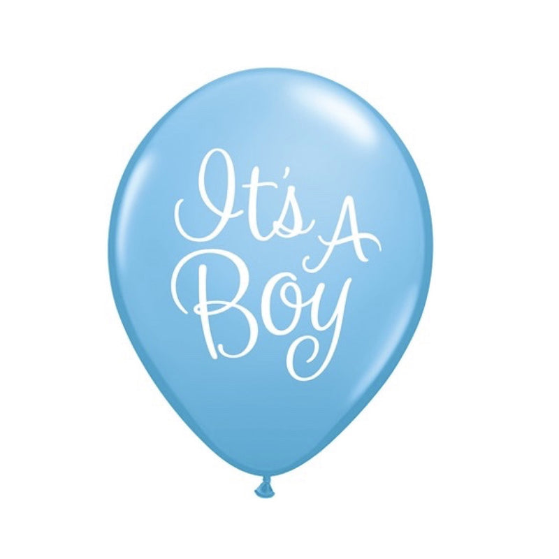 """It's a Boy"" Baby Blue Script Balloon"