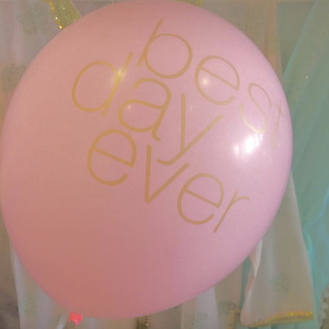 """Best Day Ever"" Balloon Blush & Gold-Party Decorations-BW-Betsy White-Putti Fine Furnishings"