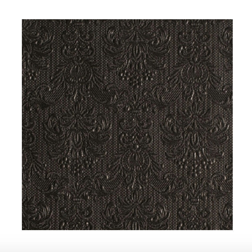 Elegance Black Embossed Paper Luncheon Napkin