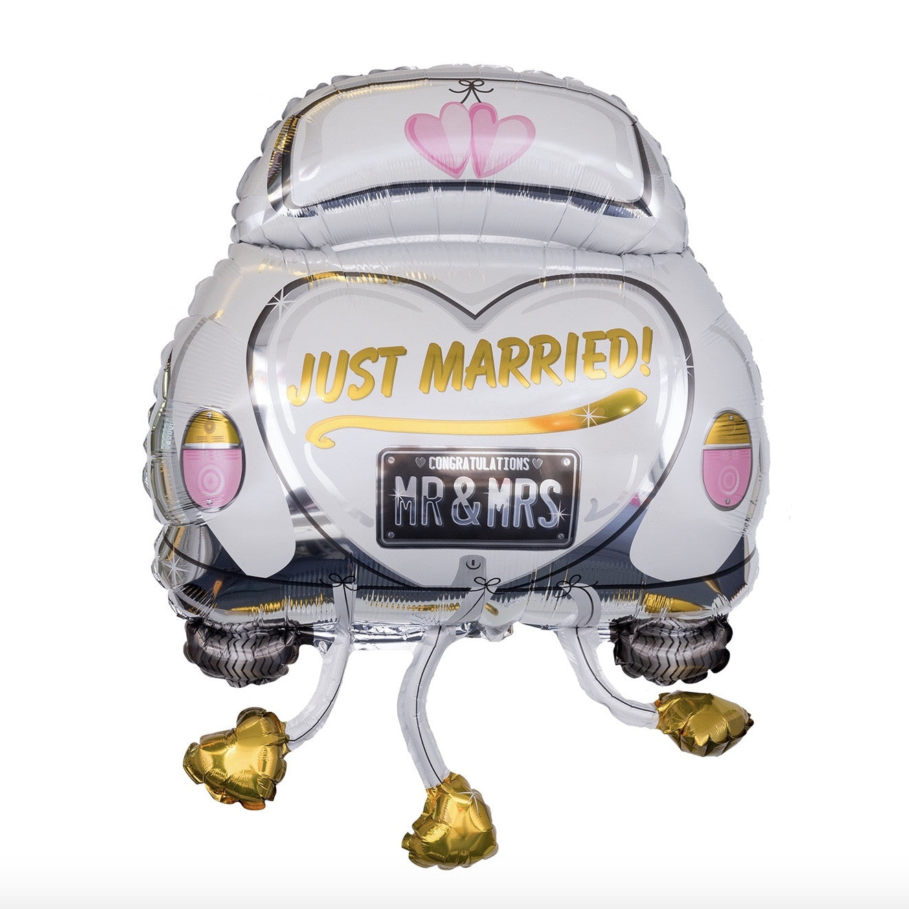 """Just Married"" Wedding Car Mylar Balloon"