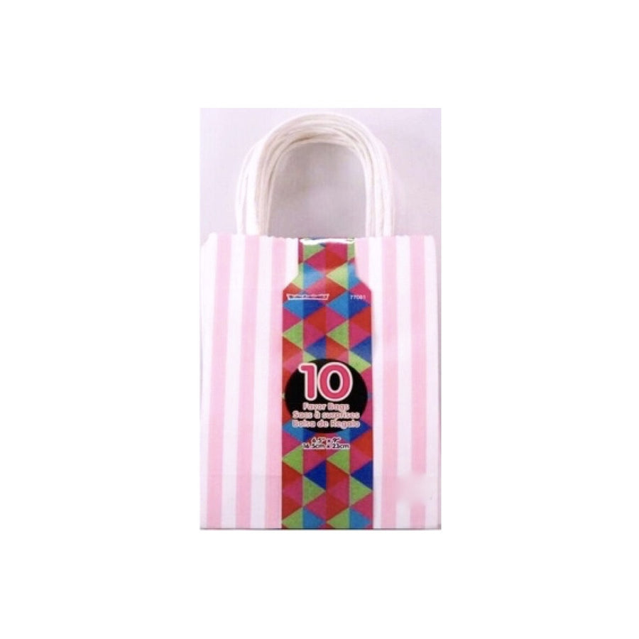 Pink & White Stipe Favour Bags, S&S-Siu & Sons, Putti Fine Furnishings