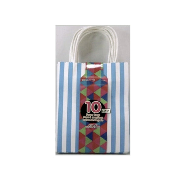 Blue & White Stipe Favour Bags-Party Supplies-S&S-Siu & Sons-Putti Fine Furnishings
