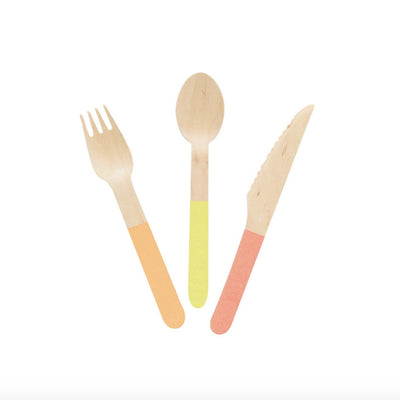 Wooden Cutlery Set - Brights -  Party Supplies - Meri Meri UK - Putti Fine Furnishings Toronto Canada - 1