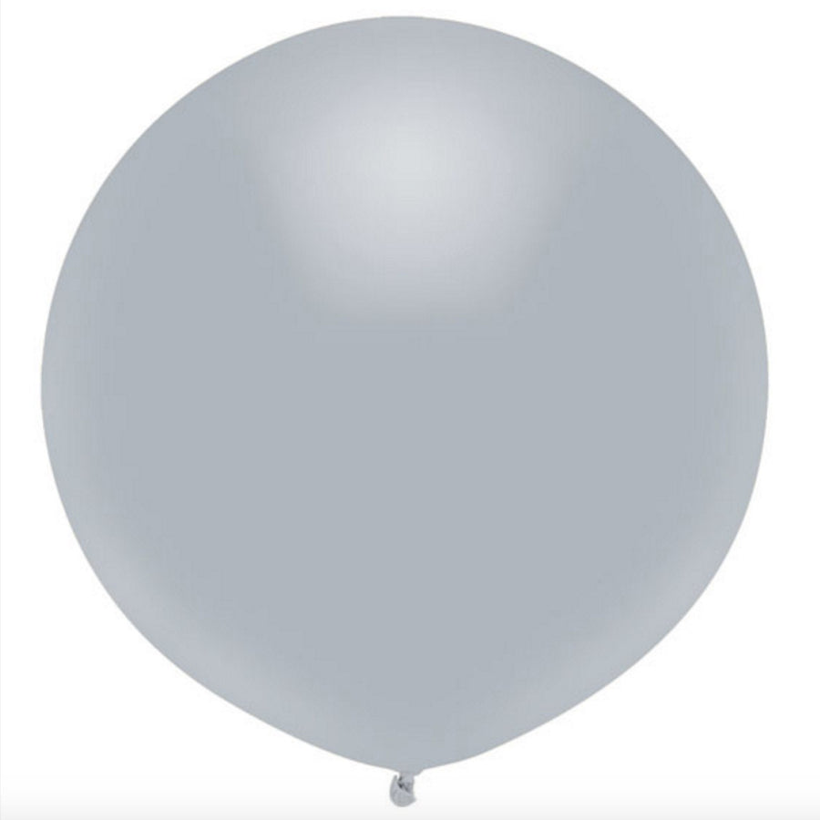 "Round Outdoor Balloon 17""- Shining Platinum"
