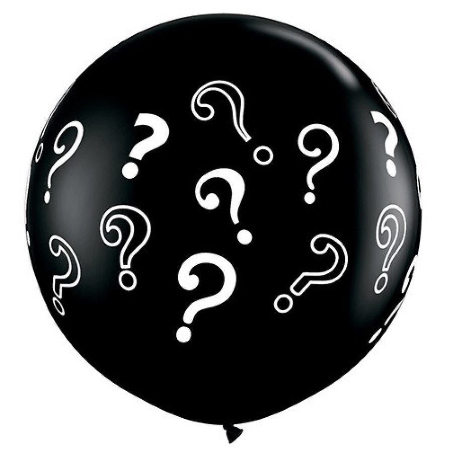 "Giant Round Balloon 36""- Black Question Marks ?"