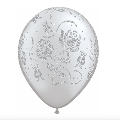 Glittered Roses Balloon - Silver-Party Supplies-SE-Surprize Enterprize-Balloon-Putti Fine Furnishings