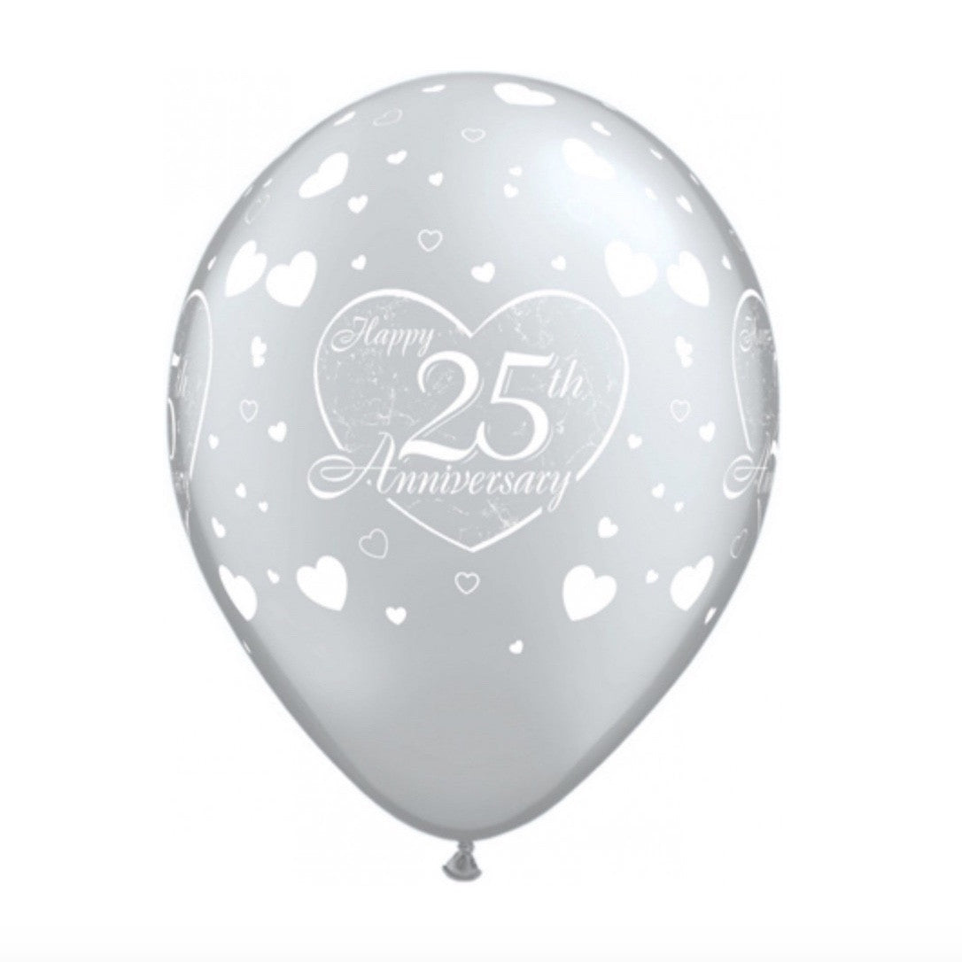 """25th Anniversary"" Silver Balloons, SE-Surprize Enterprize, Putti Fine Furnishings"
