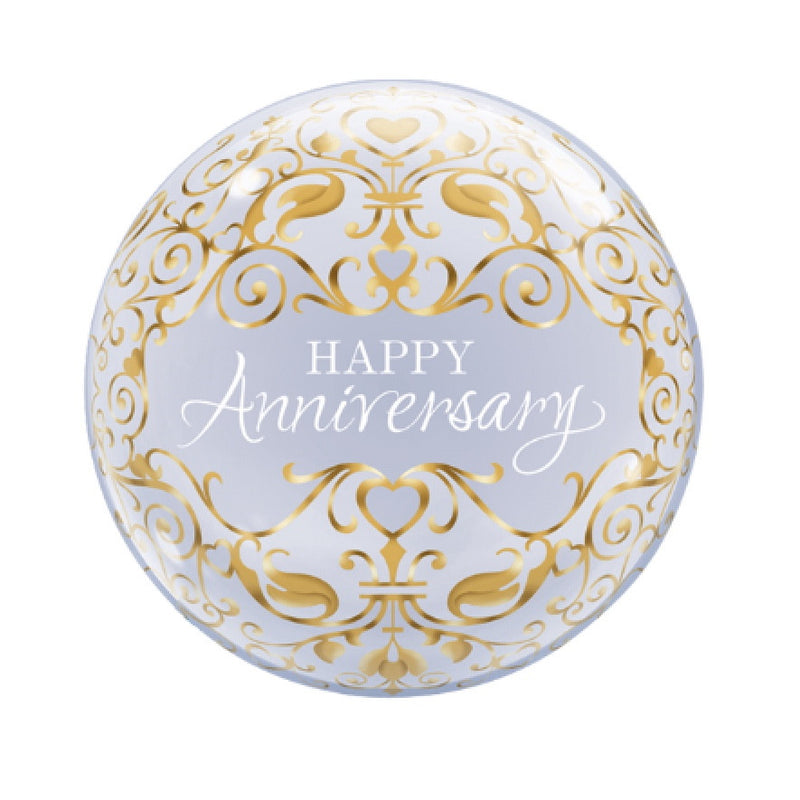 """Happy Anniversary"" Gold Classic Bubble Balloon"