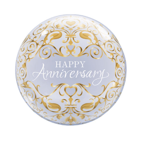 """Happy Anniversary"" Gold Classic Bubble Balloon-Party Supplies-SE-Surprize Enterprize-Balloon-Putti Fine Furnishings"