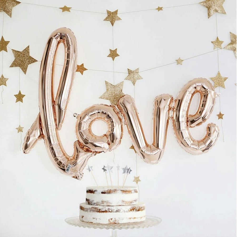 "Rose Gold Foil ""Love"" Script Balloon, SE-Surprize Enterprize, Putti Fine Furnishings"