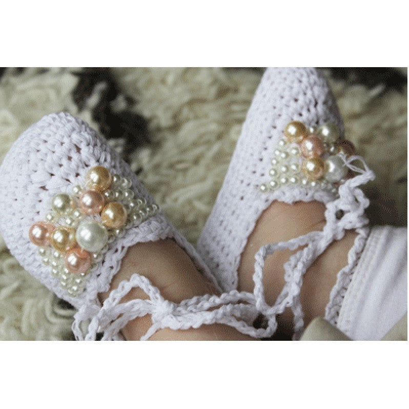 White Crochet Baby Booties with Pearls-Baby Booties-Hand Made-0-6 months-Putti Fine Furnishings