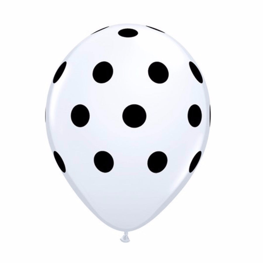 Big Polka Dots Balloons - White with Black Dots