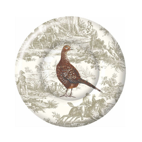 Pheasant Scene - Paper Lunch Plate -  Party Supplies - Carsim Trading - Putti Fine Furnishings Toronto Canada