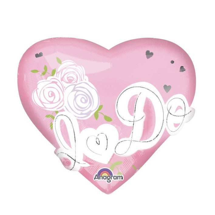"""I do"" Pink Heart Foil Balloon - Pink"