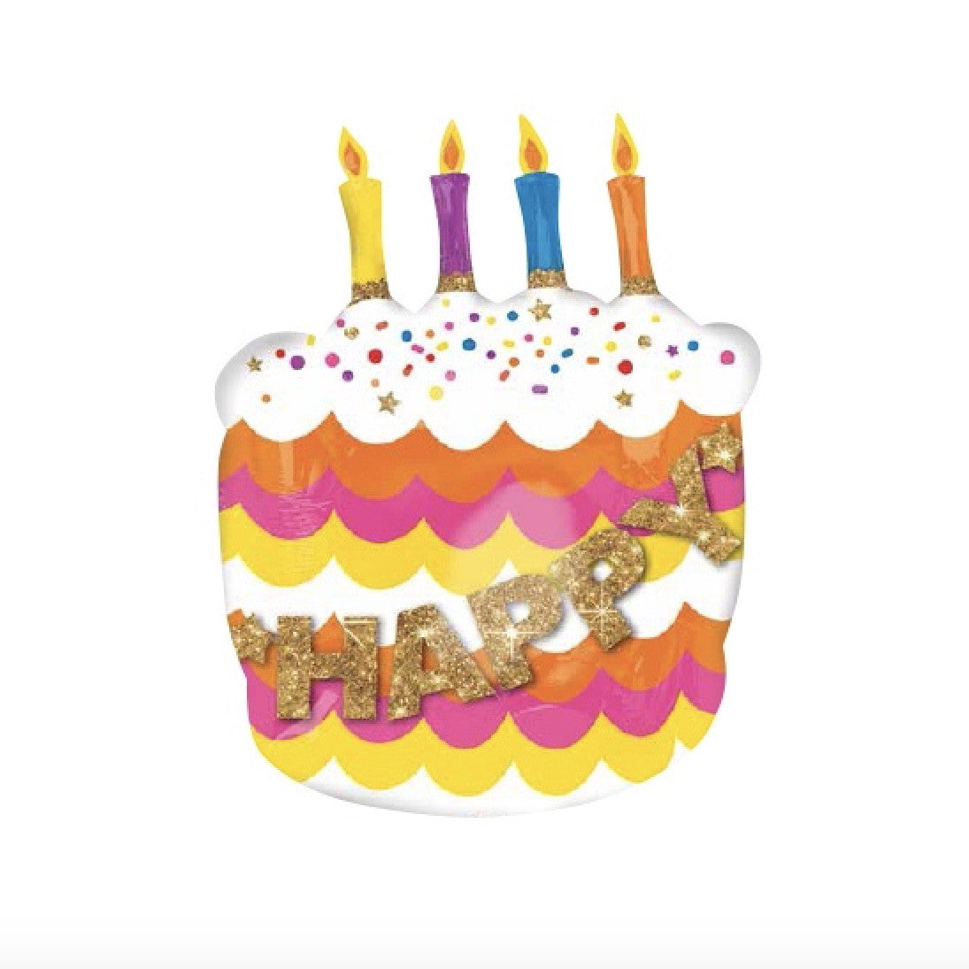 Happy Birthday Fancy Cake Mylar Balloon SE Surprize Enterprize Putti Fine