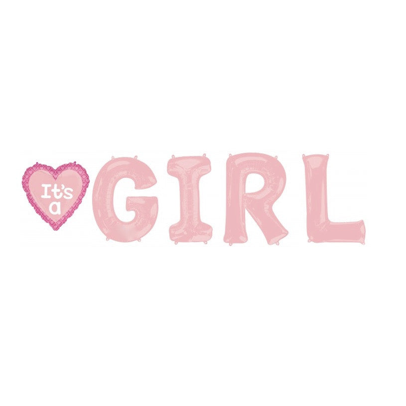 """It's a Girl"" Mylar Letter Bunch, SE-Surprize Enterprize, Putti Fine Furnishings"