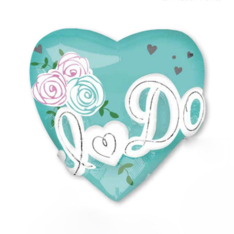 """I do"" Heart Foil Balloon - Tiffany Blue, SE-Surprize Enterprize, Putti Fine Furnishings"