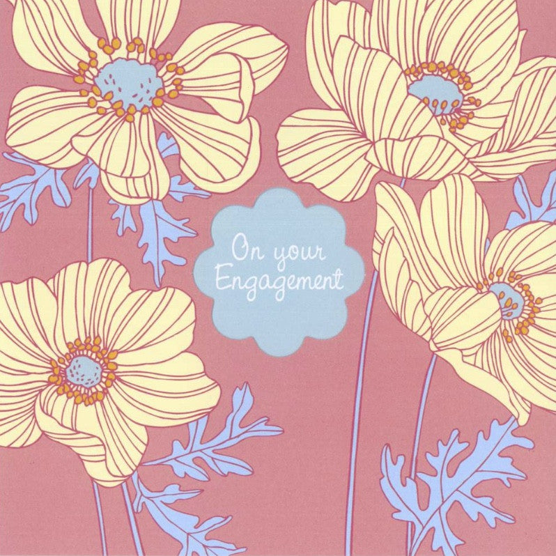 "Poppies ""On Your Engagement"" Die Cut Card -  Stationary - Jannex Enterprises - Putti Fine Furnishings Toronto Canada"