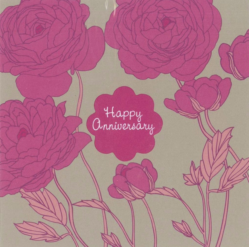 "Roses ""Happy Anniversary"" Die Cut Card"