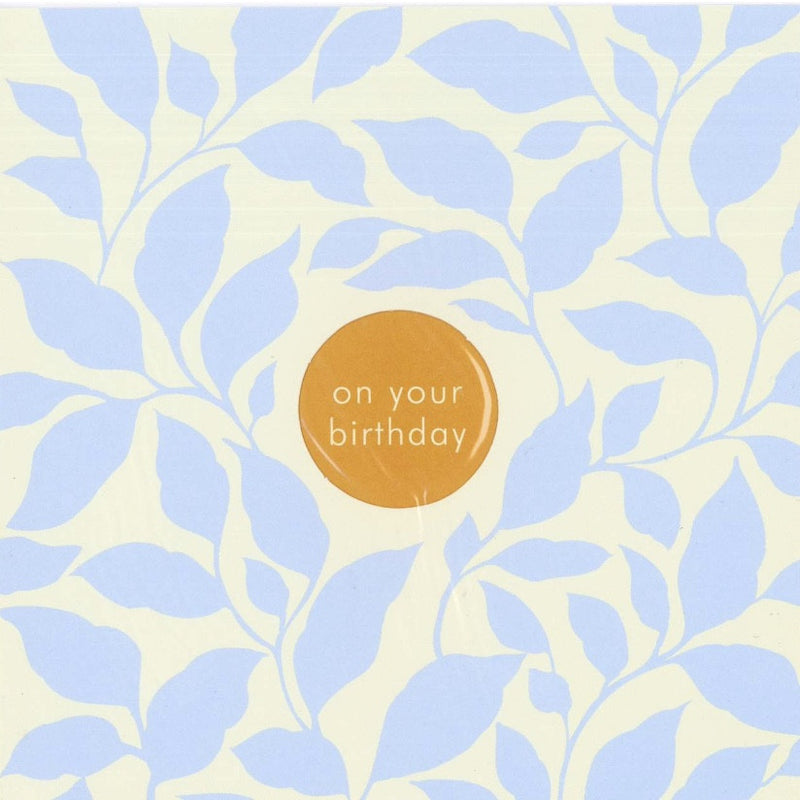 "Blue Leaves ""On Your Birthday"" Die Cut Card -  Stationary - Jannex Enterprises - Putti Fine Furnishings Toronto Canada"