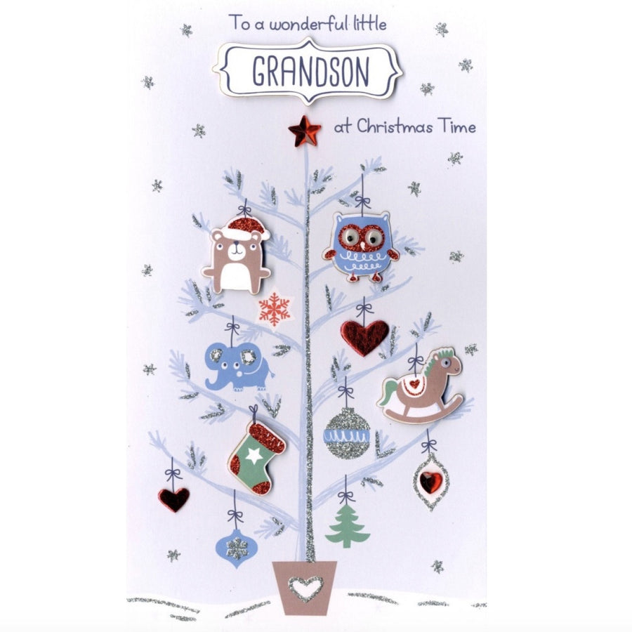 """To a Wonderful Little Grandson at Christmas Time"" Greeting Card"