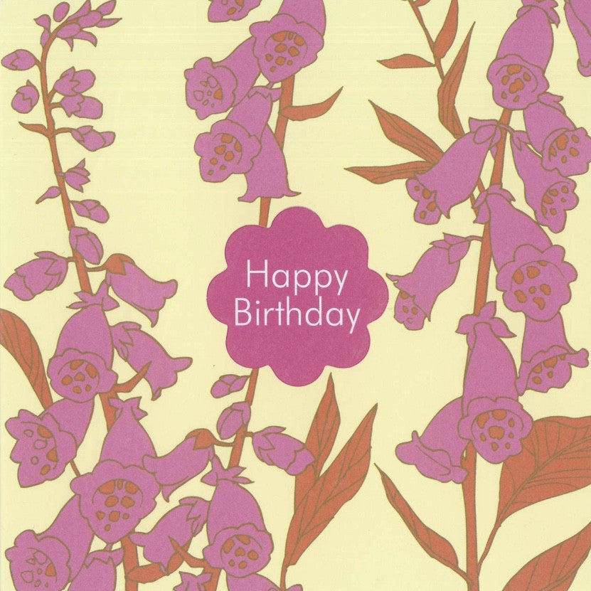 "Foxgloves ""Happy Birthday"" Die Cut Card"