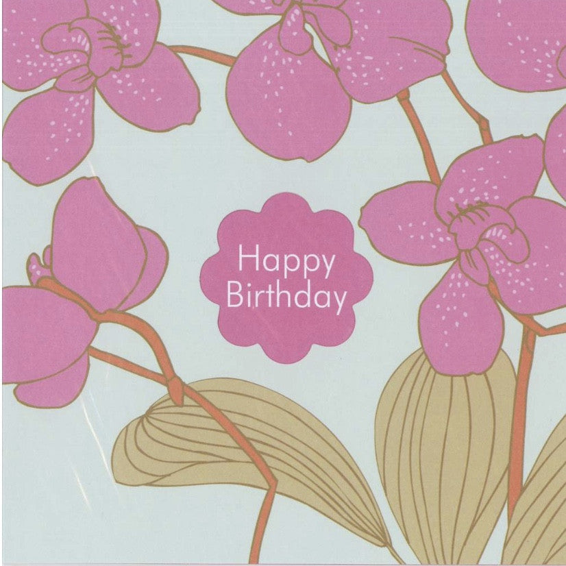 "Orchids ""Happy Birthday"" Die Cut Card, JE-Jannex Enterprises, Putti Fine Furnishings"