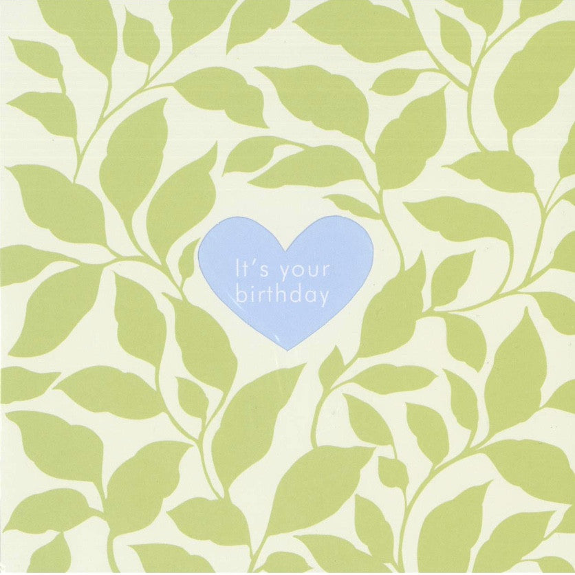 "Green Leaves ""It's Your Birthday"" Die Cut Card -  Stationary - Jannex Enterprises - Putti Fine Furnishings Toronto Canada"