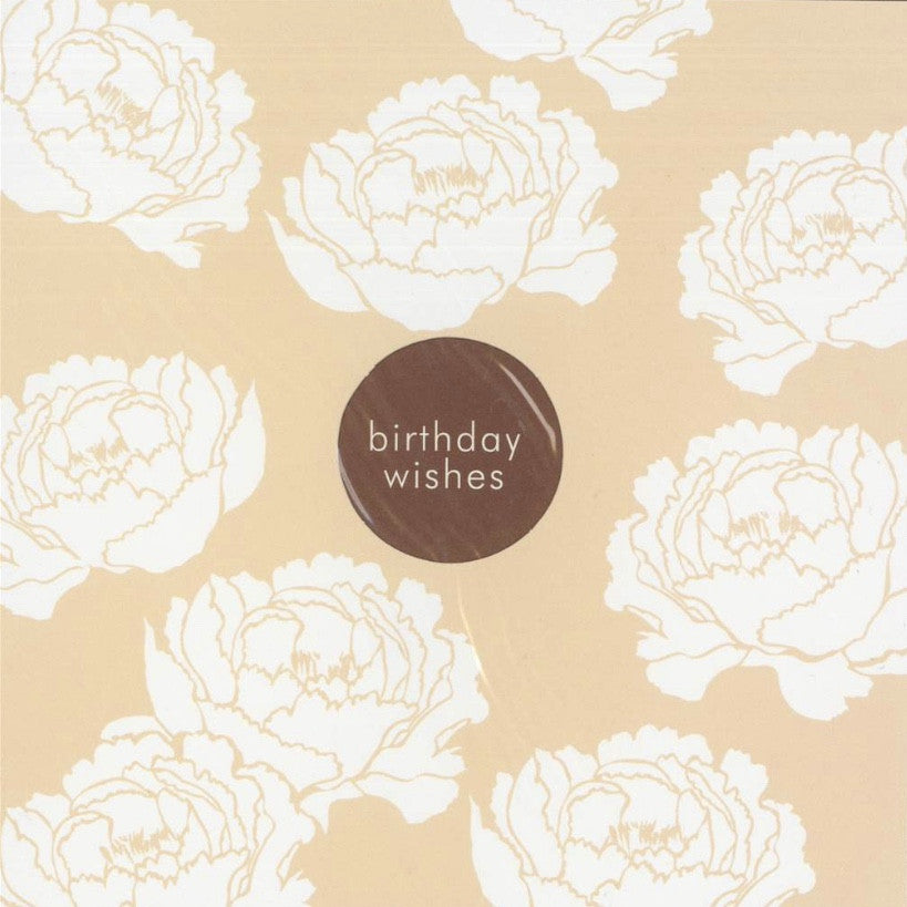 "White Peonies ""Birthday Wishes"" Die Cut Card"