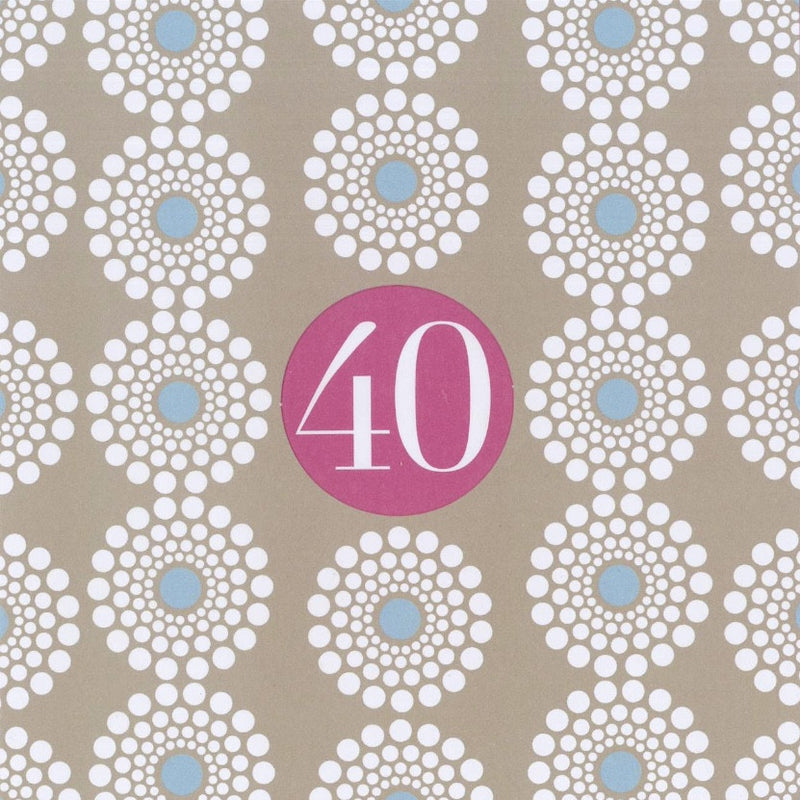 """40"" Birthday Die Cut Card -  Stationary - Jannex Enterprises - Putti Fine Furnishings Toronto Canada"
