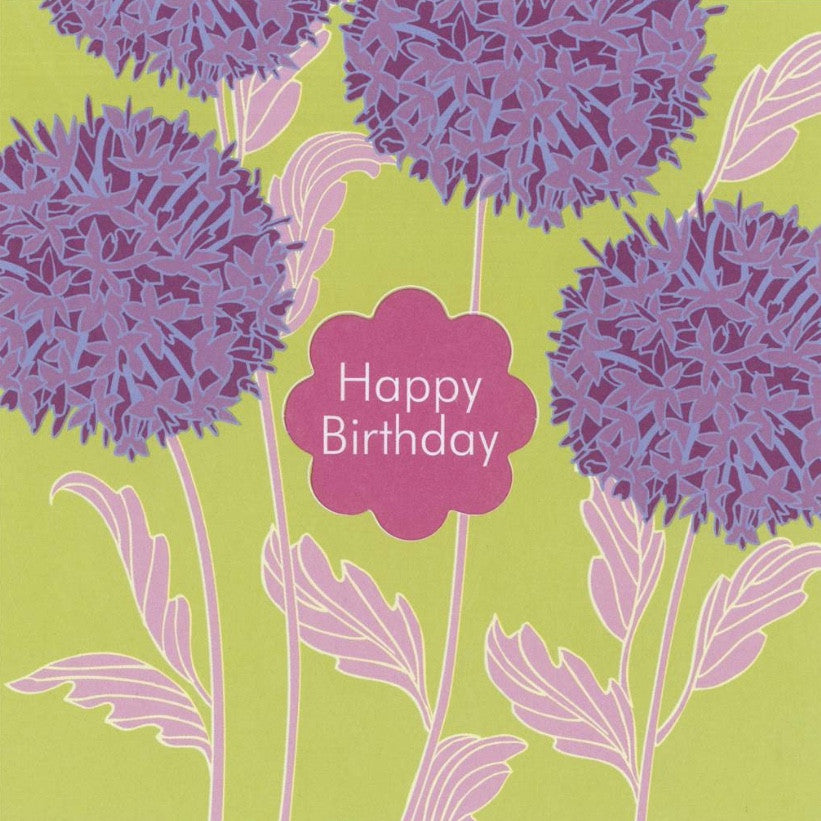 "Agapanths ""Happy Birthday"" Die Cut Card"