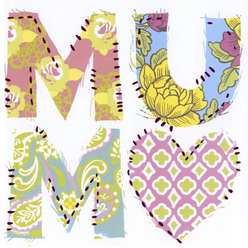 "Patchwork Floral Print ""Mum"" Card, JE-Jannex Enterprises, Putti Fine Furnishings"