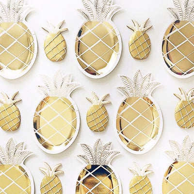 Meri Meri  Gold Pineapple Plate -  Party Supplies - Meri Meri UK - Putti Fine Furnishings Toronto Canada - 3
