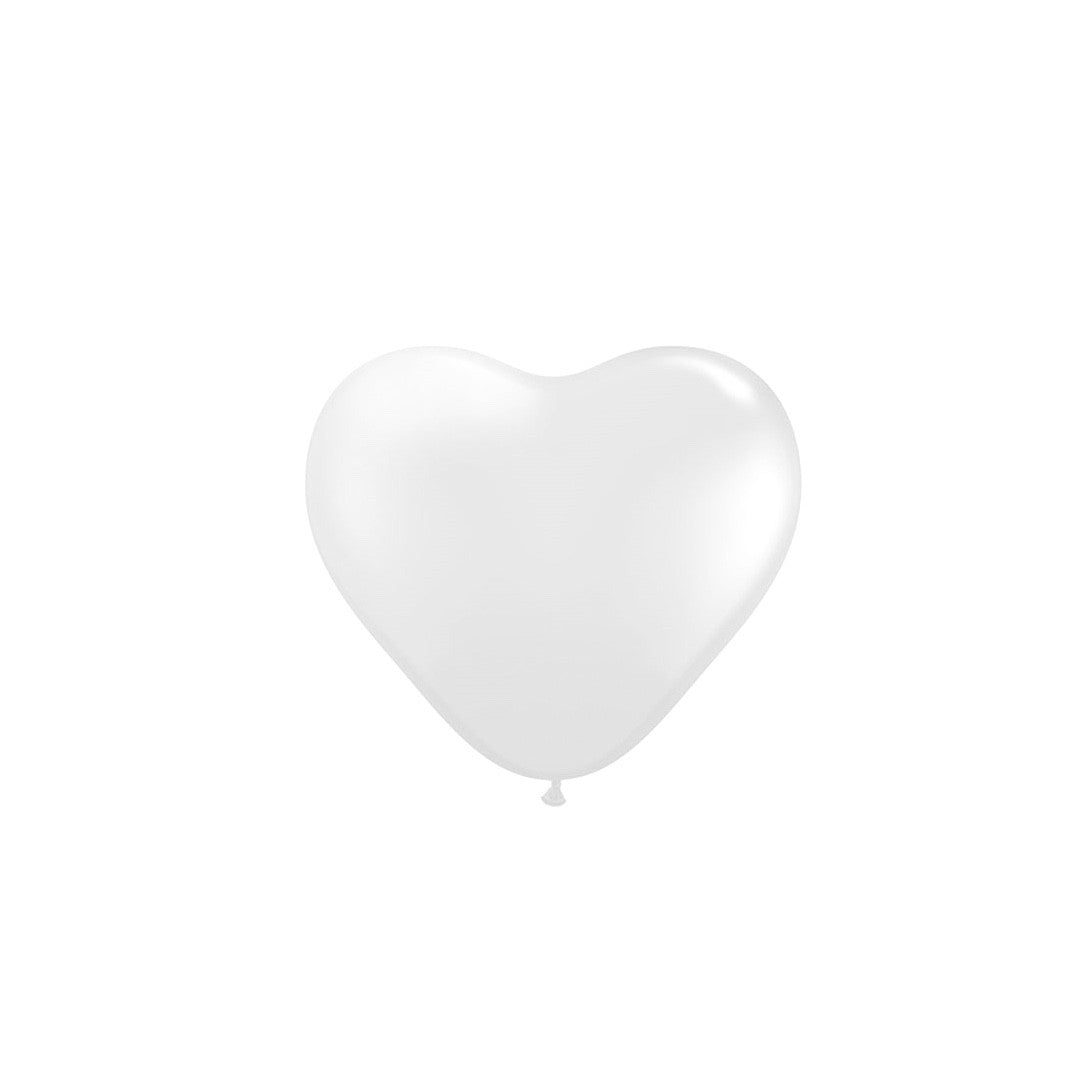 Pearlized Heart Balloons - White 6""