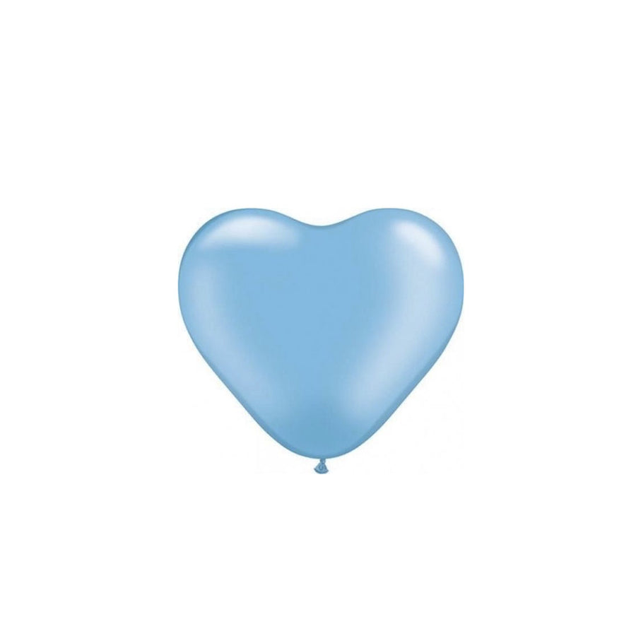 Pearlized Heart Balloons - Blue 6""