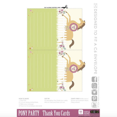 Pony Party - Free Printable Thank You Cards, TT-Talking Tables, Putti Fine Furnishings