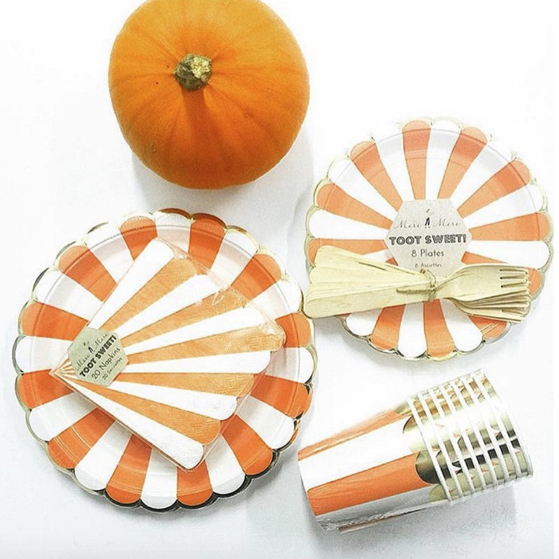 "Meri Meri ""Toot Sweet"" Orange and White Striped - Large Paper Plates"