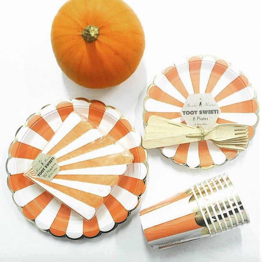 """Toot Sweet"" Orange and White Striped - Small Paper Plates -  Party Supplies - Meri Meri UK - Putti Fine Furnishings Toronto Canada - 1"