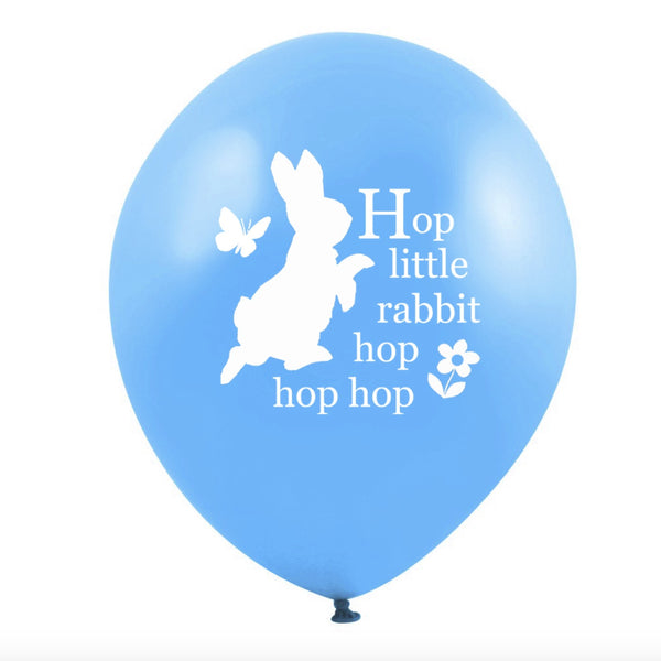 "Peter Rabbit ""Hop little rabbit...hop hop hop"" Balloon - Cyan Blue - Balloon Party Supplies - Vintage Angel - Putti Fine Furnishings Toronto Canada"